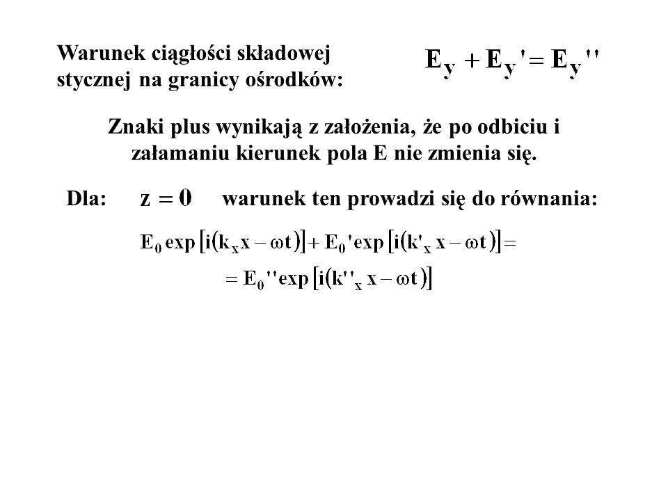 warunek ten prowadzi się do równania: