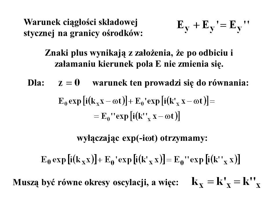 warunek ten prowadzi się do równania: wyłączając exp(-iωt) otrzymamy: