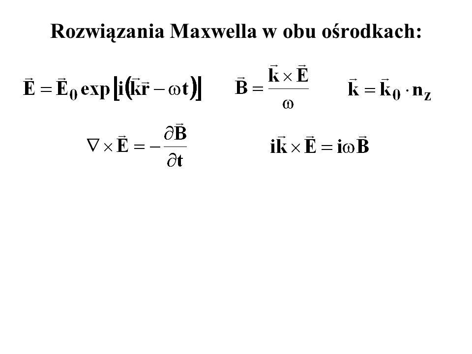 Rozwiązania Maxwella w obu ośrodkach: