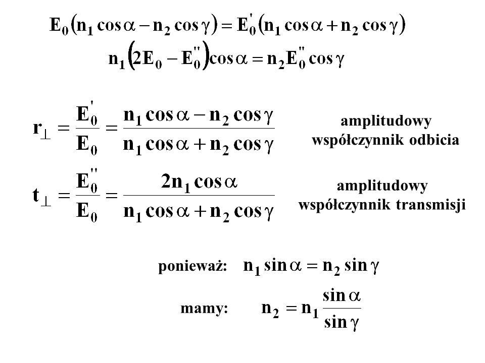 amplitudowy współczynnik odbicia amplitudowy współczynnik transmisji