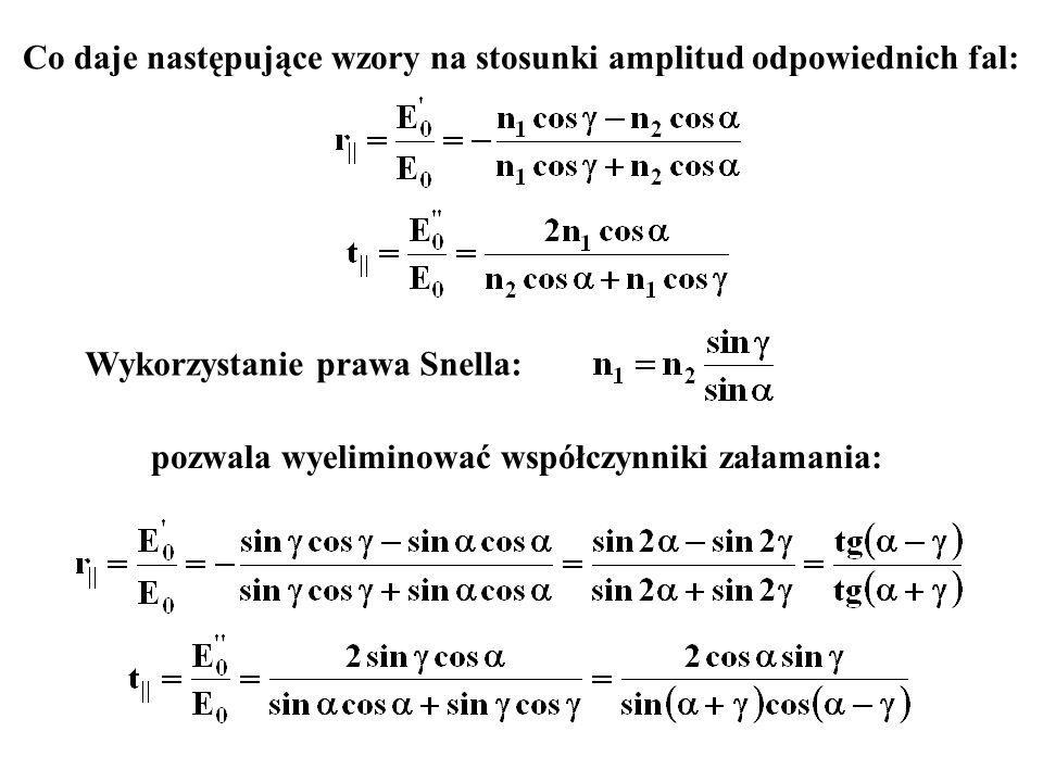 Co daje następujące wzory na stosunki amplitud odpowiednich fal:
