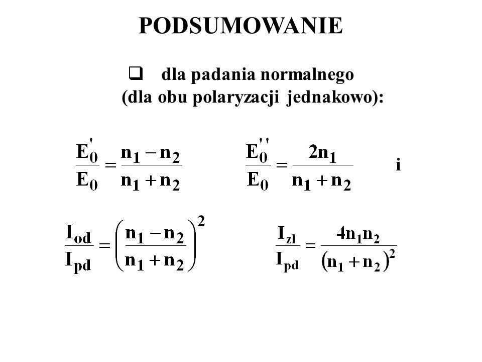 dla padania normalnego (dla obu polaryzacji jednakowo):