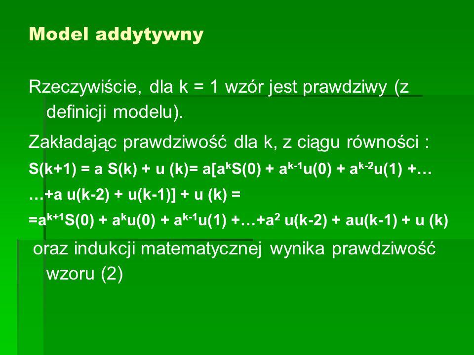 Rzeczywiście, dla k = 1 wzór jest prawdziwy (z definicji modelu).