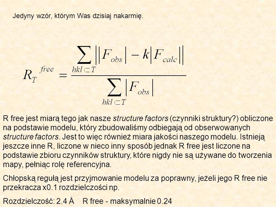 Rozdzielczość: 2.4 Å R free - maksymalnie 0.24