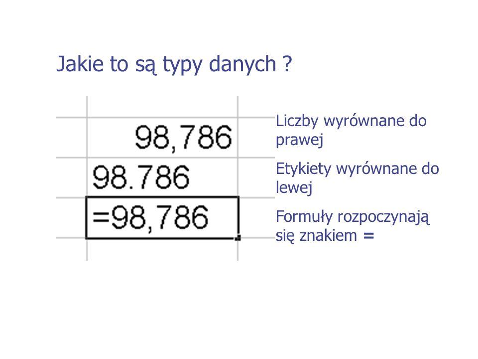 Jakie to są typy danych Liczby wyrównane do prawej