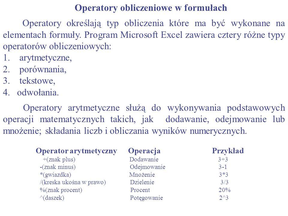 Operatory obliczeniowe w formułach
