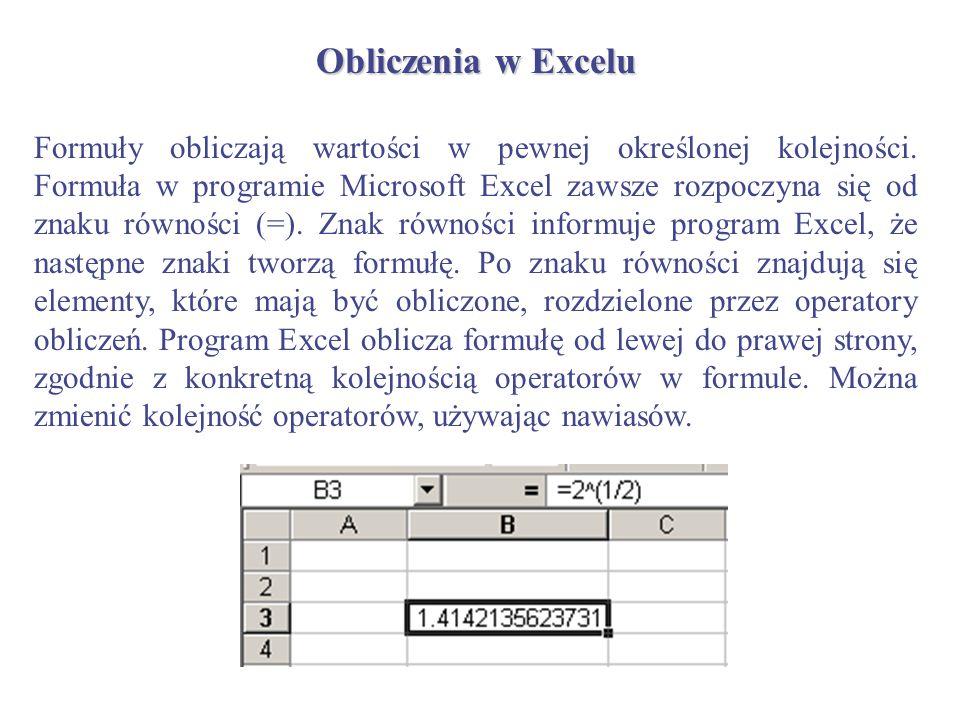 Obliczenia w Excelu