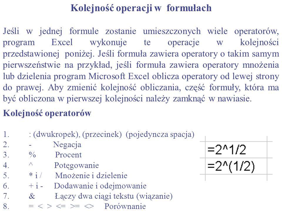 Kolejność operacji w formułach