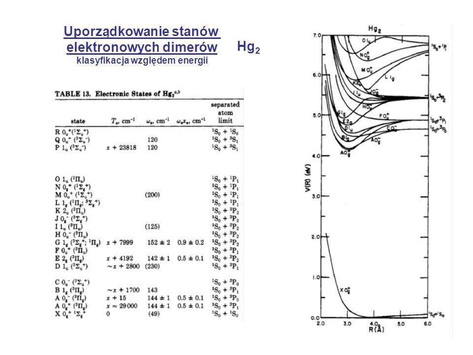 Uporządkowanie stanów elektronowych dimerów Hg2