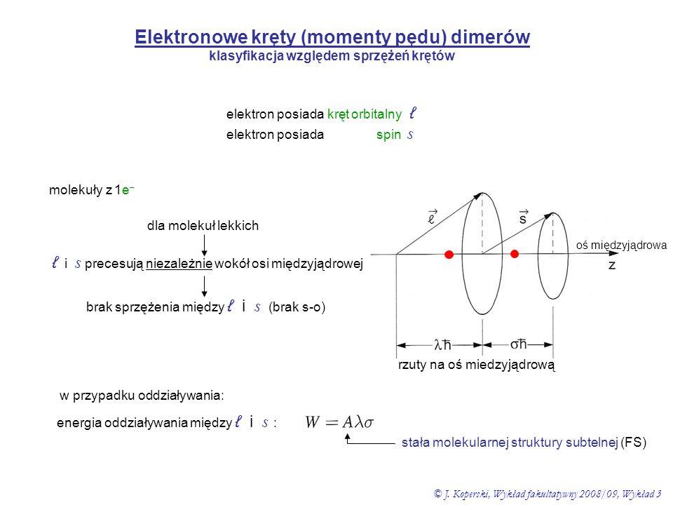Elektronowe kręty (momenty pędu) dimerów