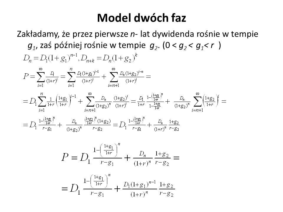 Model dwóch faz Zakładamy, że przez pierwsze n- lat dywidenda rośnie w tempie g1, zaś później rośnie w tempie g2.