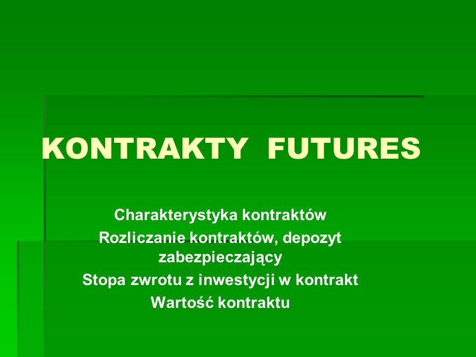 KONTRAKTY FUTURES Charakterystyka kontraktów