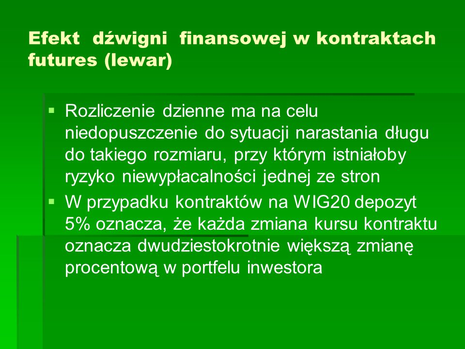 Efekt dźwigni finansowej w kontraktach futures (lewar)