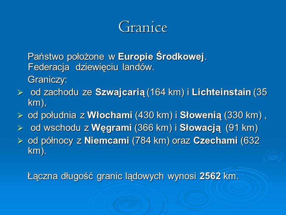Granice Państwo położone w Europie Środkowej. Federacja dziewięciu landów. Graniczy: od zachodu ze Szwajcarią (164 km) i Lichteinstain (35 km),