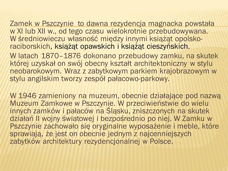 Zamek w Pszczynie to dawna rezydencja magnacka powstała w XI lub XII w
