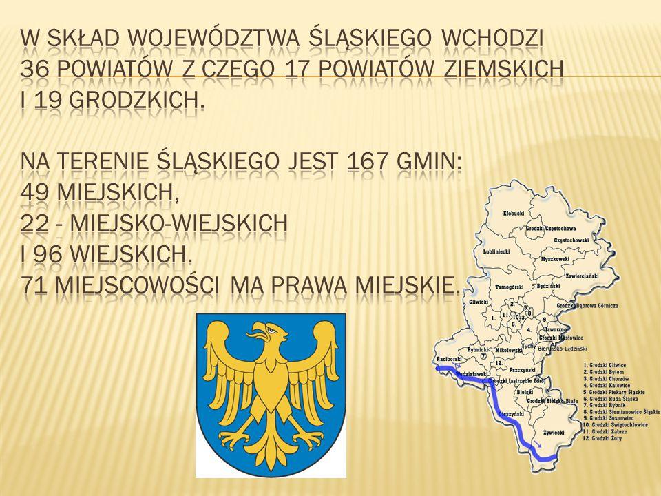 W skład województwa śląskiego wchodzi 36 powiatów z czego 17 powiatów ziemskich i 19 grodzkich.