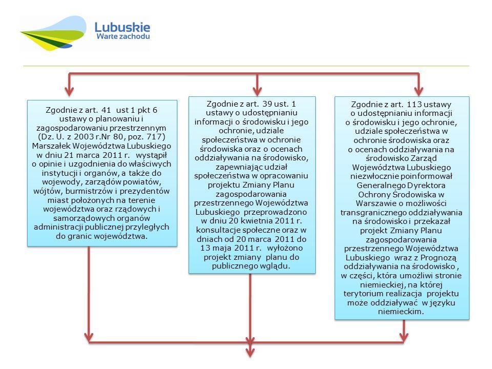 Zgodnie z art. 39 ust. 1 ustawy o udostępnianiu informacji o środowisku i jego ochronie, udziale społeczeństwa w ochronie środowiska oraz o ocenach oddziaływania na środowisko, zapewniając udział społeczeństwa w opracowaniu projektu Zmiany Planu zagospodarowania przestrzennego Województwa Lubuskiego przeprowadzono w dniu 20 kwietnia 2011 r. konsultacje społeczne oraz w dniach od 20 marca 2011 do 13 maja 2011 r. wyłożono projekt zmiany planu do publicznego wglądu.