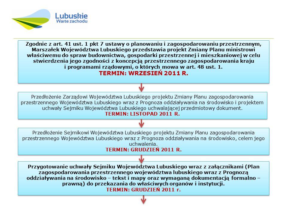 Zgodnie z art. 41 ust. 1 pkt 7 ustawy o planowaniu i zagospodarowaniu przestrzennym, Marszałek Województwa Lubuskiego przedstawia projekt Zmiany Planu ministrowi właściwemu do spraw budownictwa, gospodarki przestrzennej i mieszkaniowej w celu stwierdzenia jego zgodności z koncepcją przestrzennego zagospodarowania kraju i programami rządowymi, o których mowa w art. 48 ust. 1.