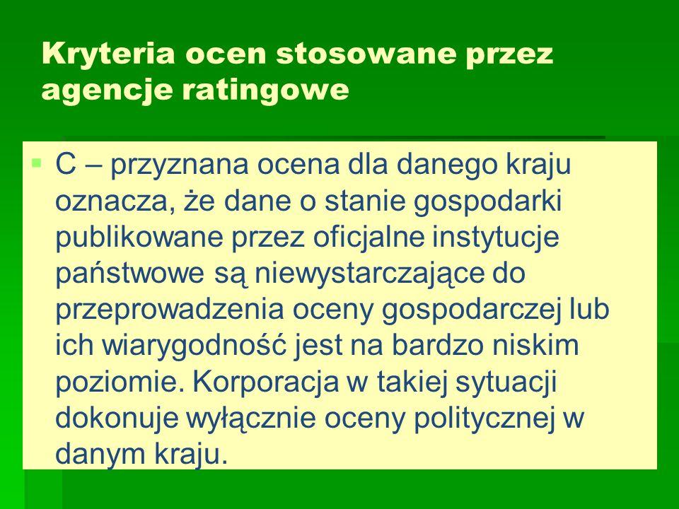 Kryteria ocen stosowane przez agencje ratingowe