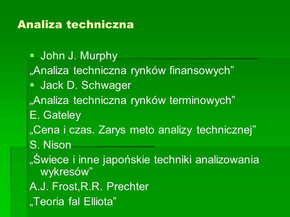 """Analiza techniczna John J. Murphy. """"Analiza techniczna rynków finansowych Jack D. Schwager. """"Analiza techniczna rynków terminowych"""