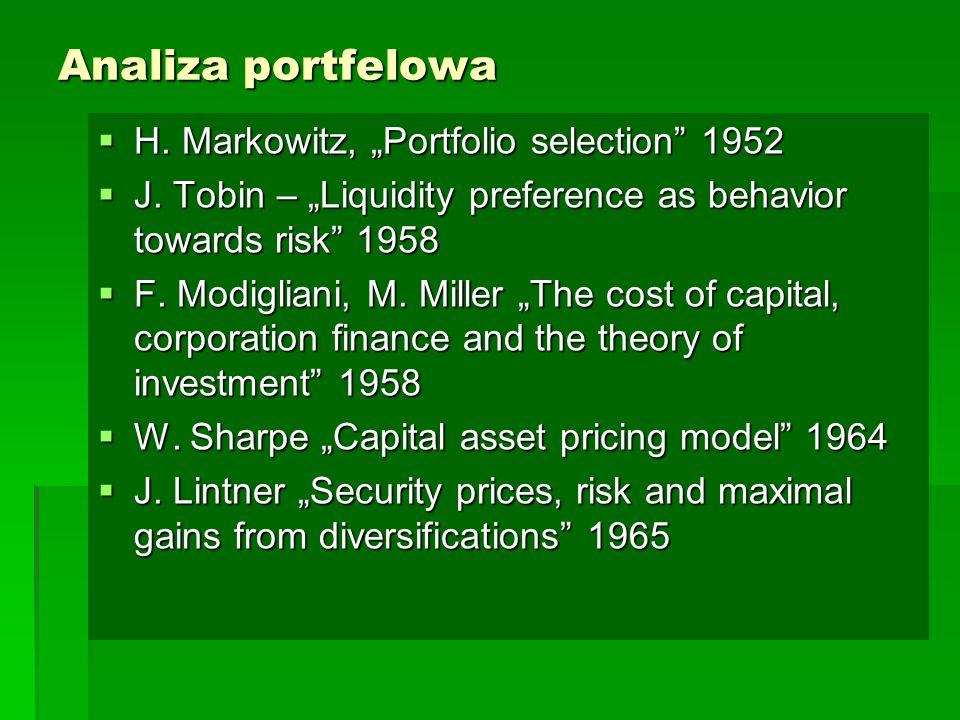 """Analiza portfelowa H. Markowitz, """"Portfolio selection 1952"""