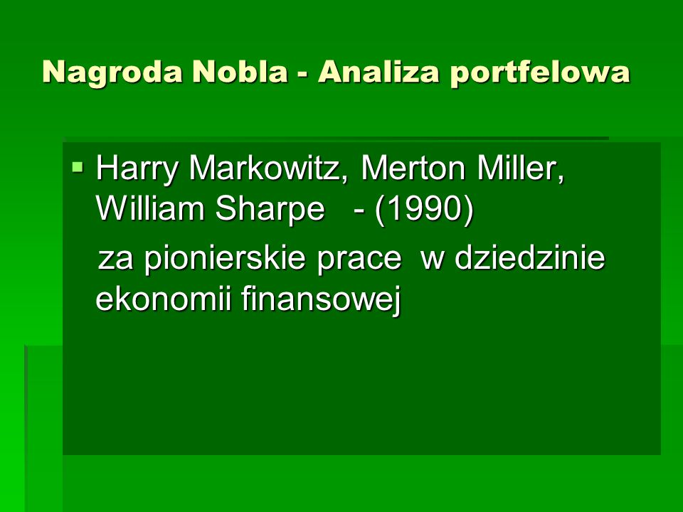 Nagroda Nobla - Analiza portfelowa