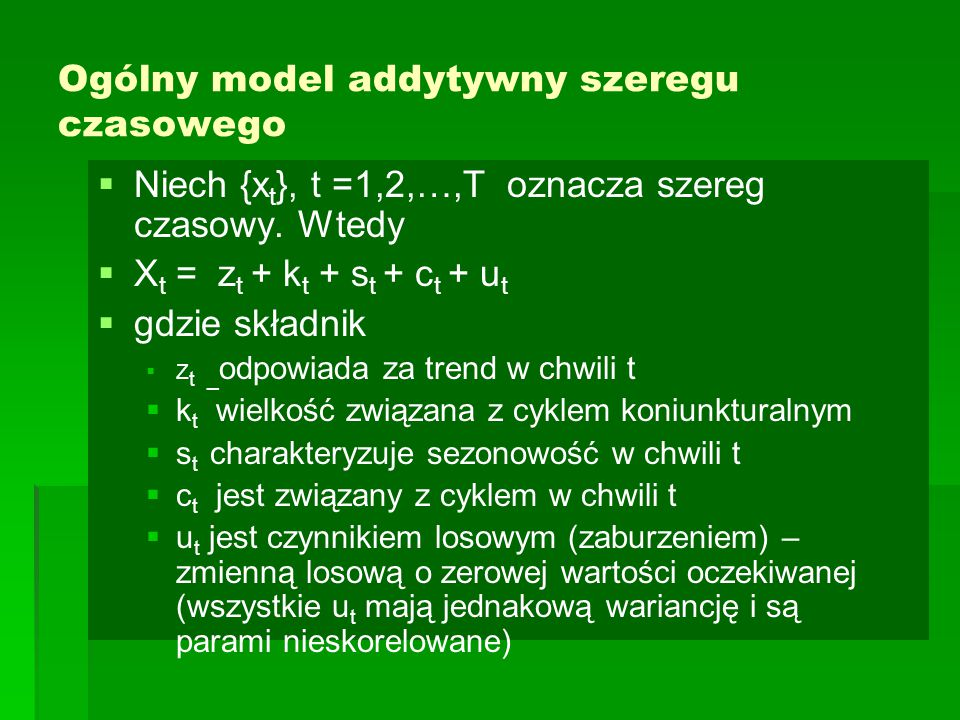 Ogólny model addytywny szeregu czasowego