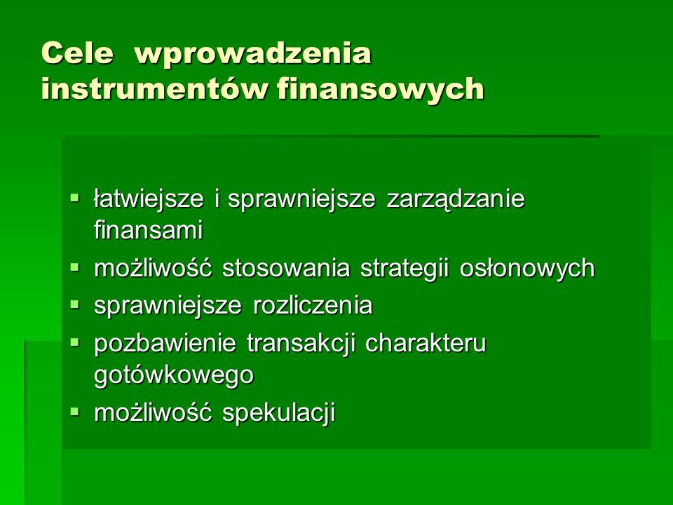 Cele wprowadzenia instrumentów finansowych