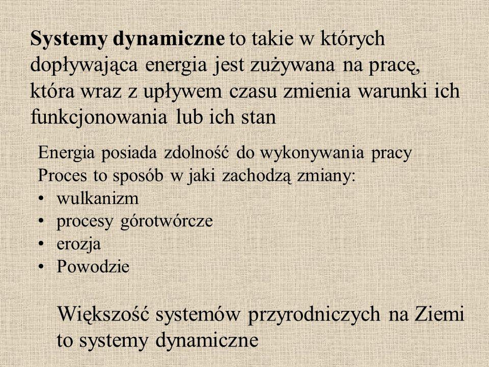 Systemy dynamiczne to takie w których dopływająca energia jest zużywana na pracę, która wraz z upływem czasu zmienia warunki ich funkcjonowania lub ich stan