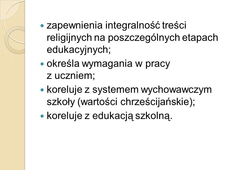 zapewnienia integralność treści religijnych na poszczególnych etapach edukacyjnych;