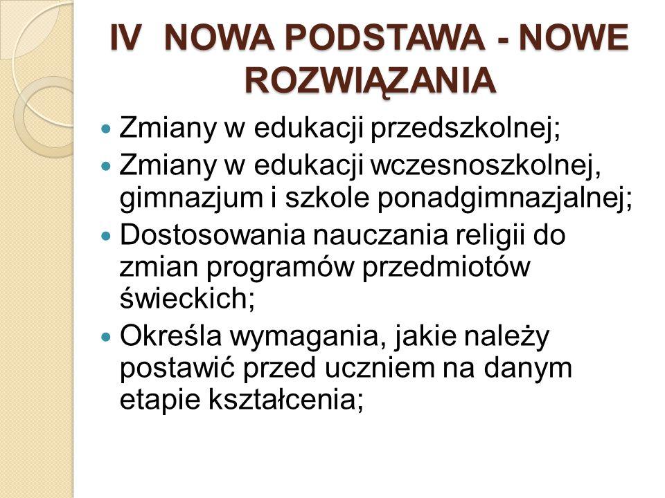 IV NOWA PODSTAWA - NOWE ROZWIĄZANIA