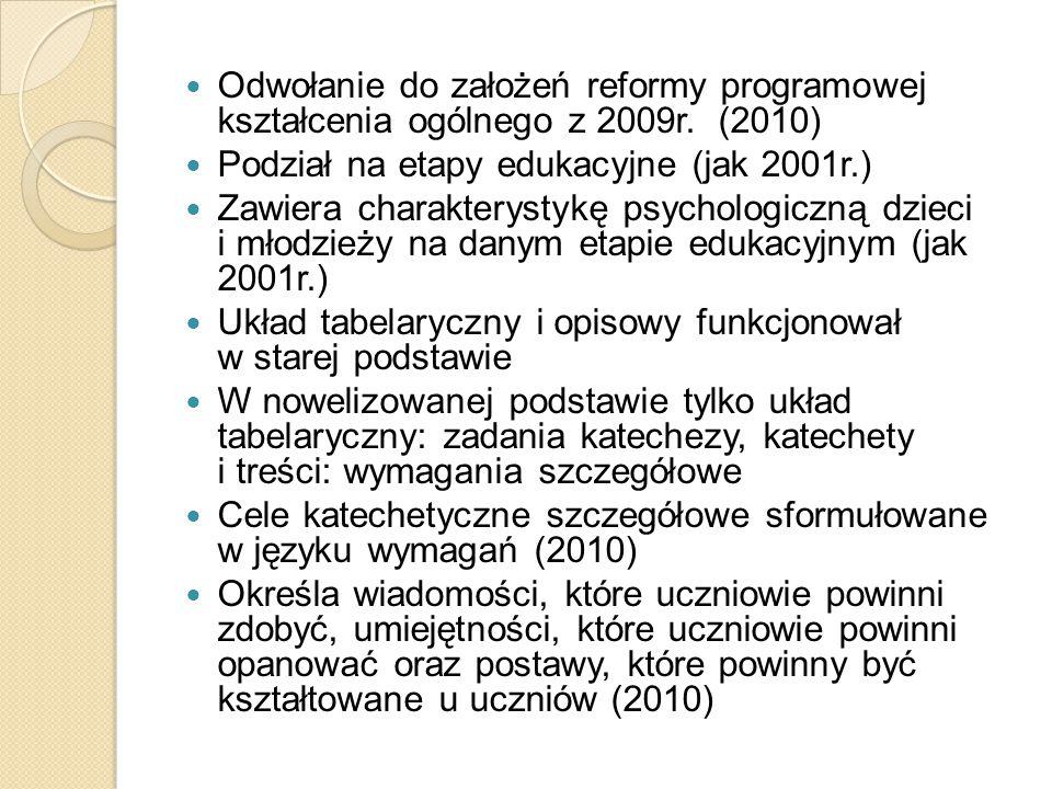 Odwołanie do założeń reformy programowej kształcenia ogólnego z 2009r