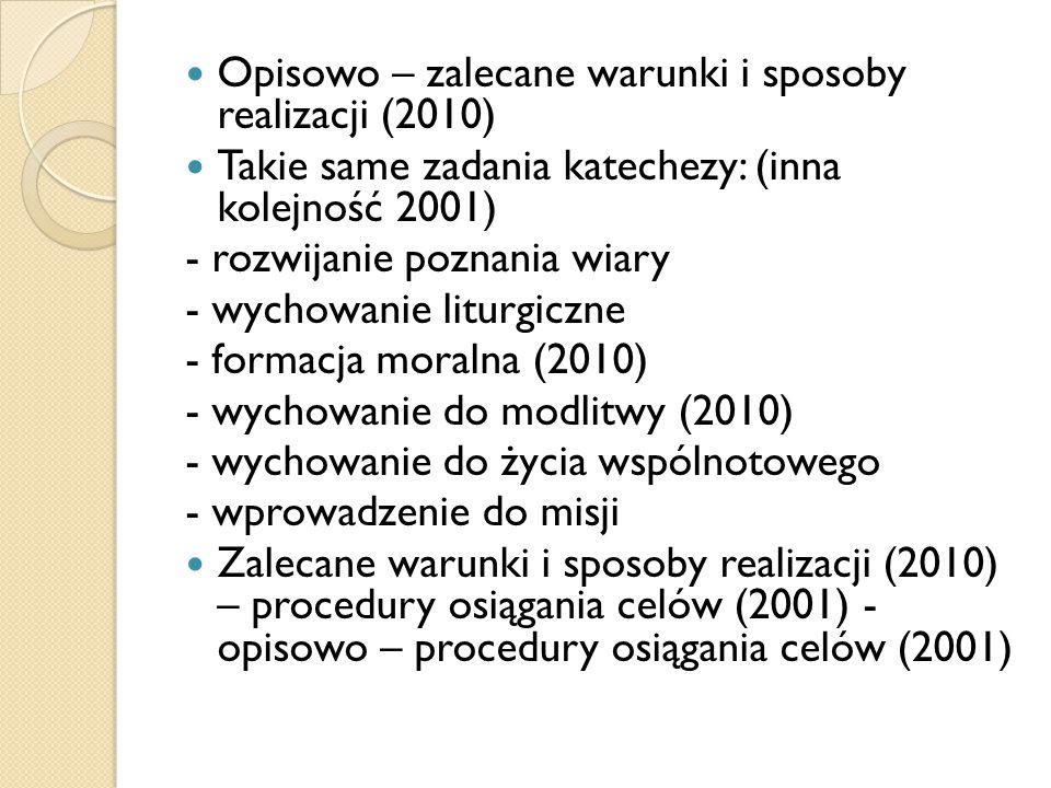Opisowo – zalecane warunki i sposoby realizacji (2010)