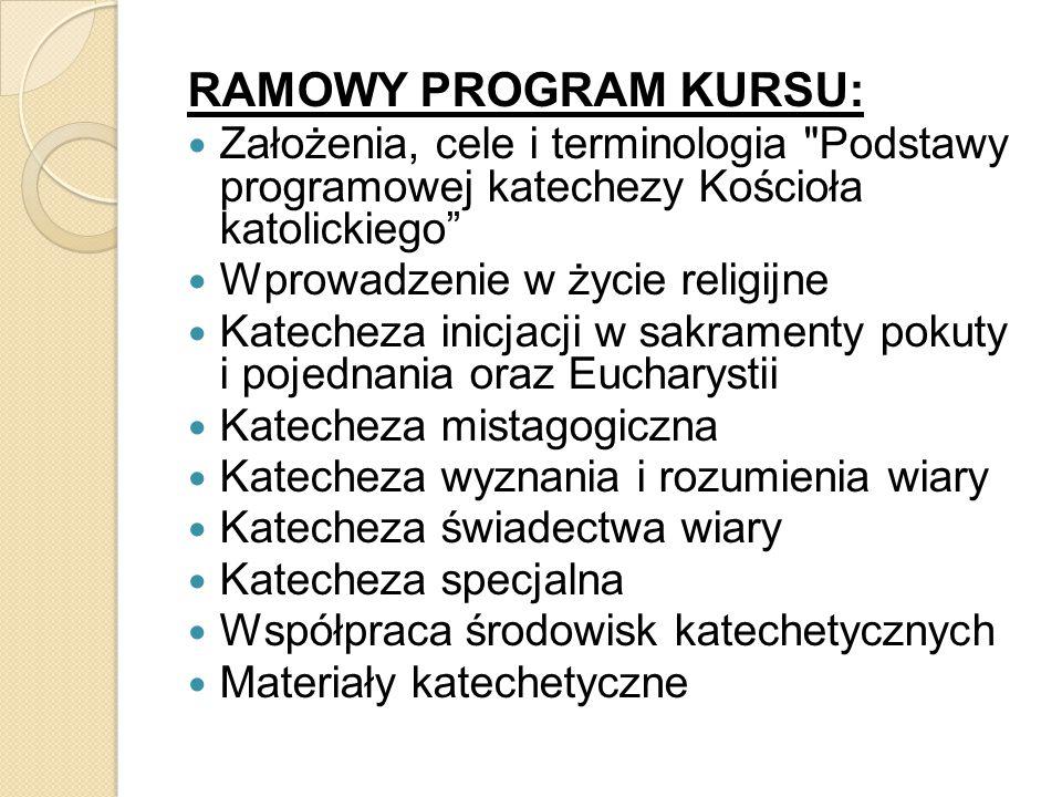 RAMOWY PROGRAM KURSU: Założenia, cele i terminologia Podstawy programowej katechezy Kościoła katolickiego