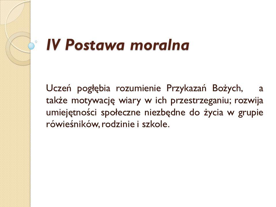 IV Postawa moralna