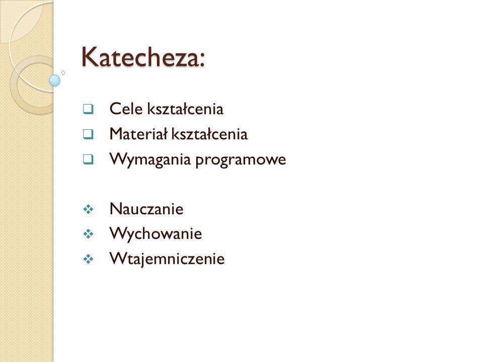 Katecheza: Cele kształcenia Materiał kształcenia Wymagania programowe