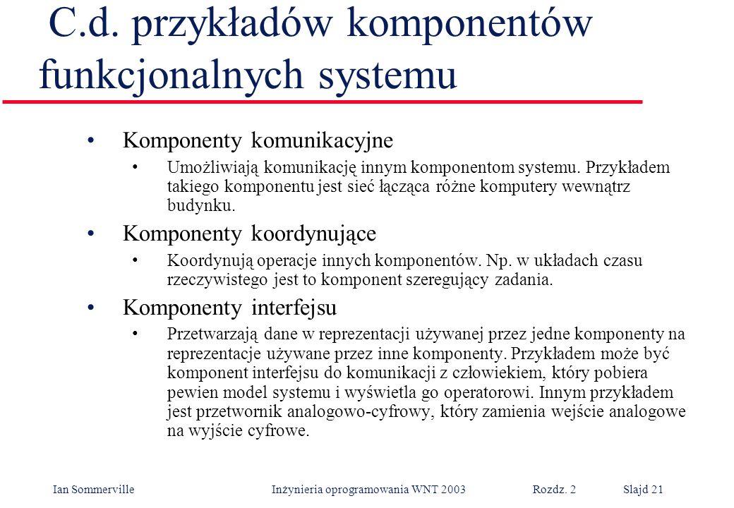 C.d. przykładów komponentów funkcjonalnych systemu