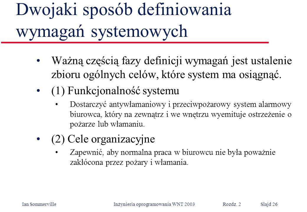 Dwojaki sposób definiowania wymagań systemowych
