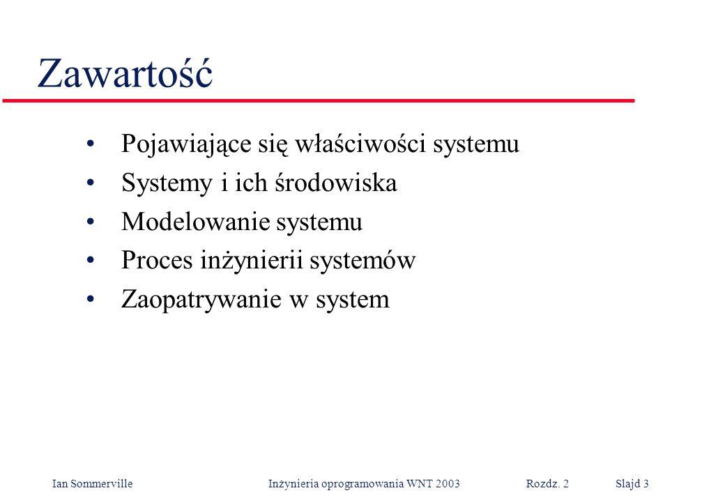Zawartość Pojawiające się właściwości systemu Systemy i ich środowiska