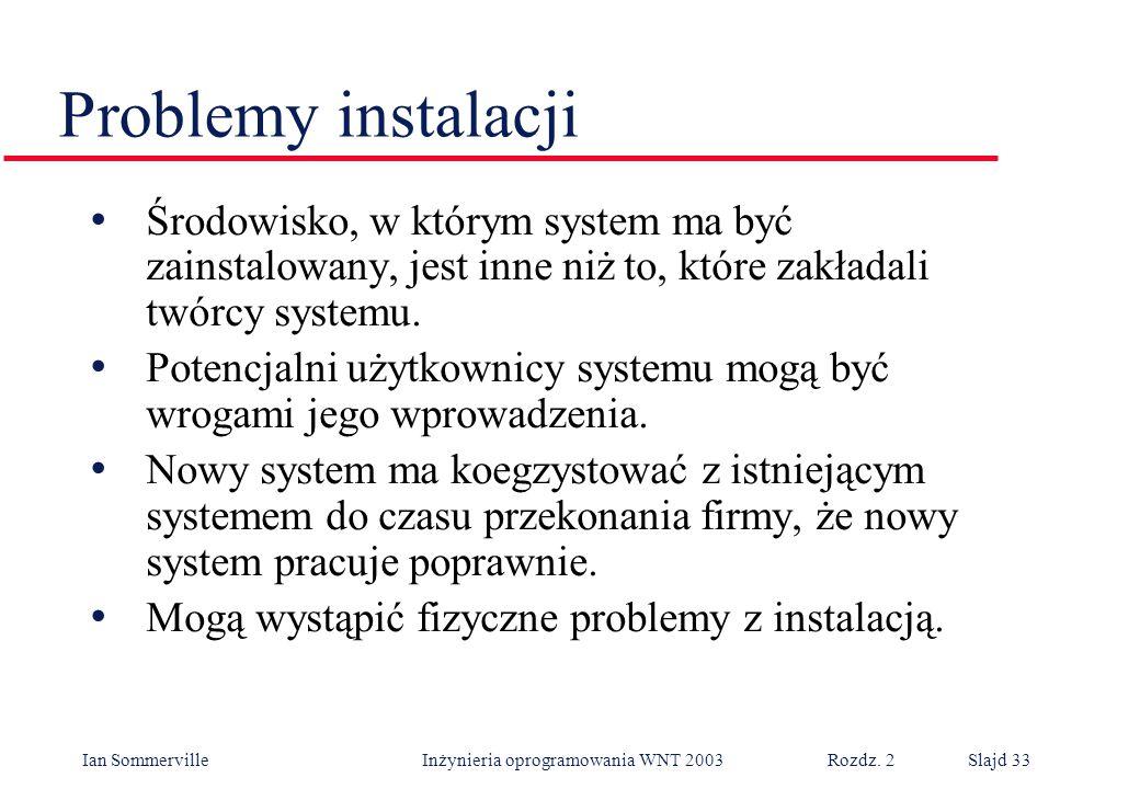 Problemy instalacji Środowisko, w którym system ma być zainstalowany, jest inne niż to, które zakładali twórcy systemu.