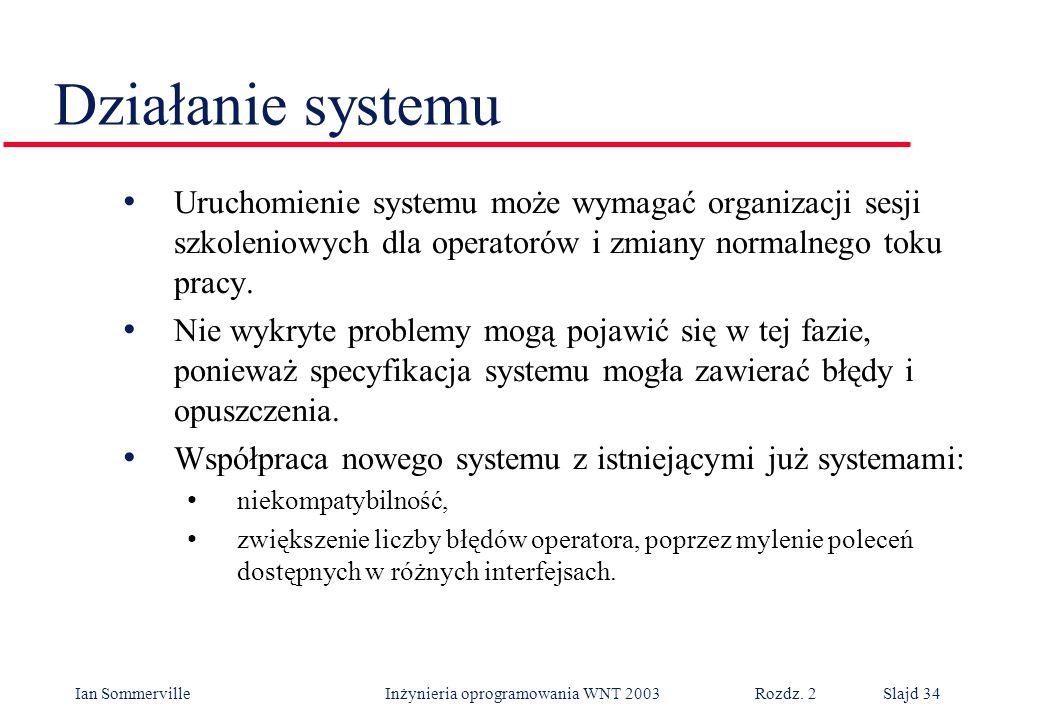 Działanie systemu Uruchomienie systemu może wymagać organizacji sesji szkoleniowych dla operatorów i zmiany normalnego toku pracy.