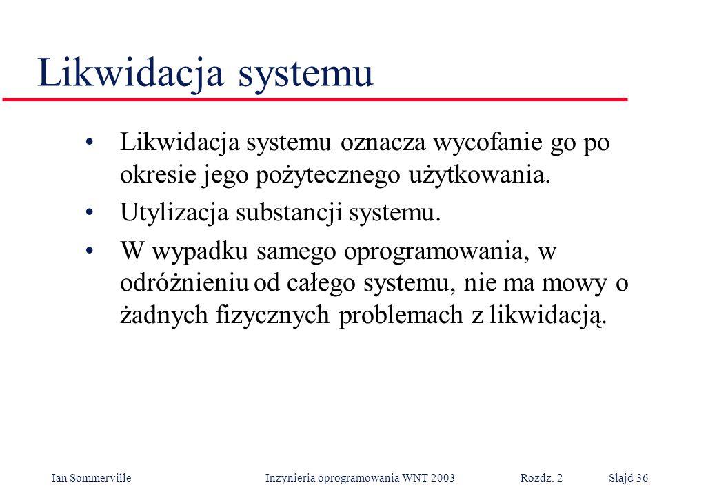 Likwidacja systemu Likwidacja systemu oznacza wycofanie go po okresie jego pożytecznego użytkowania.