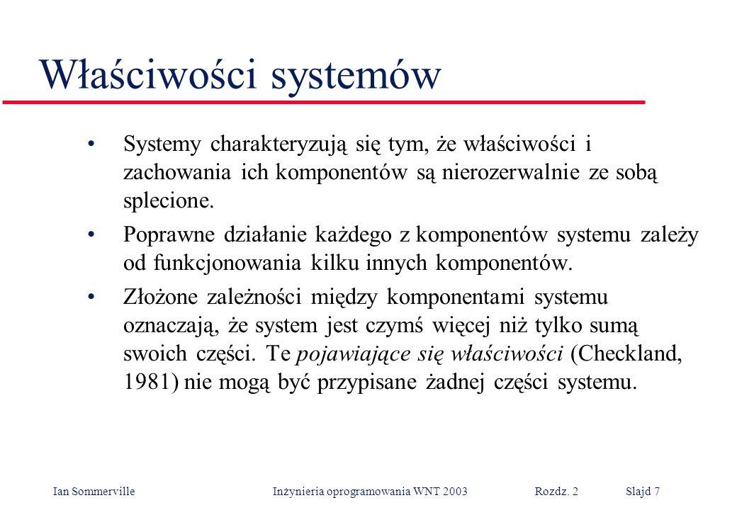 Właściwości systemów Systemy charakteryzują się tym, że właściwości i zachowania ich komponentów są nierozerwalnie ze sobą splecione.