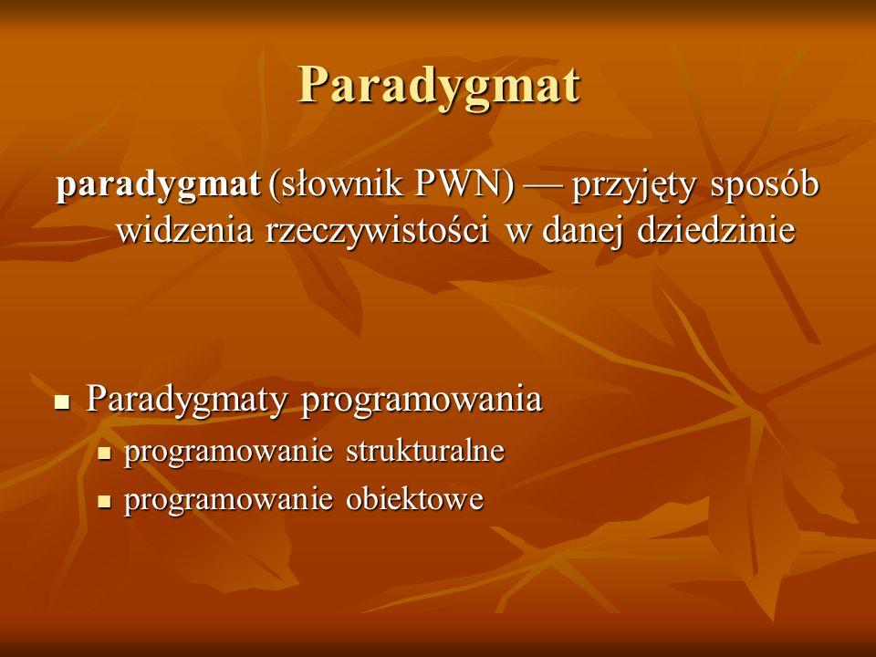 Paradygmat paradygmat (słownik PWN) — przyjęty sposób widzenia rzeczywistości w danej dziedzinie. Paradygmaty programowania.