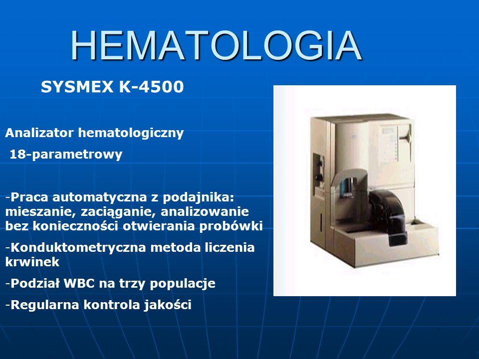 HEMATOLOGIA SYSMEX K-4500 Analizator hematologiczny 18-parametrowy