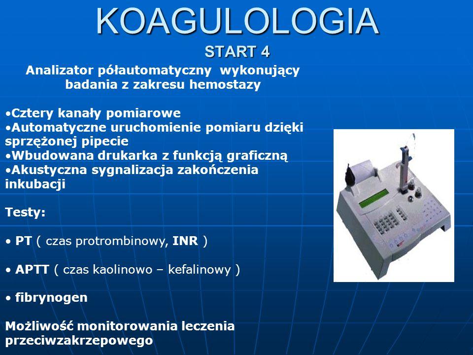 Analizator półautomatyczny wykonujący badania z zakresu hemostazy