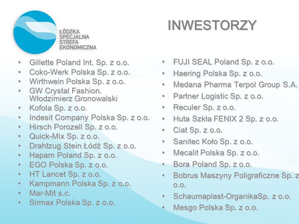 INWESTORZY FUJI SEAL Poland Sp. z o.o. Gillette Poland Int. Sp. z o.o.