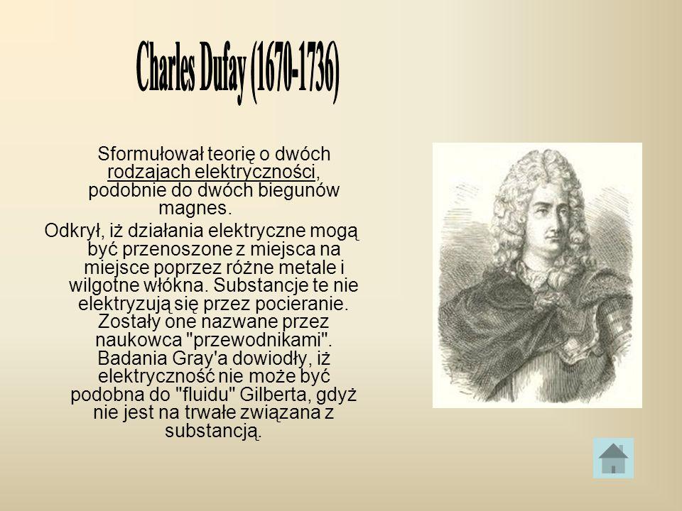 Charles Dufay (1670-1736) Sformułował teorię o dwóch rodzajach elektryczności, podobnie do dwóch biegunów magnes.
