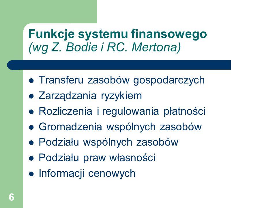 Funkcje systemu finansowego (wg Z. Bodie i RC. Mertona)
