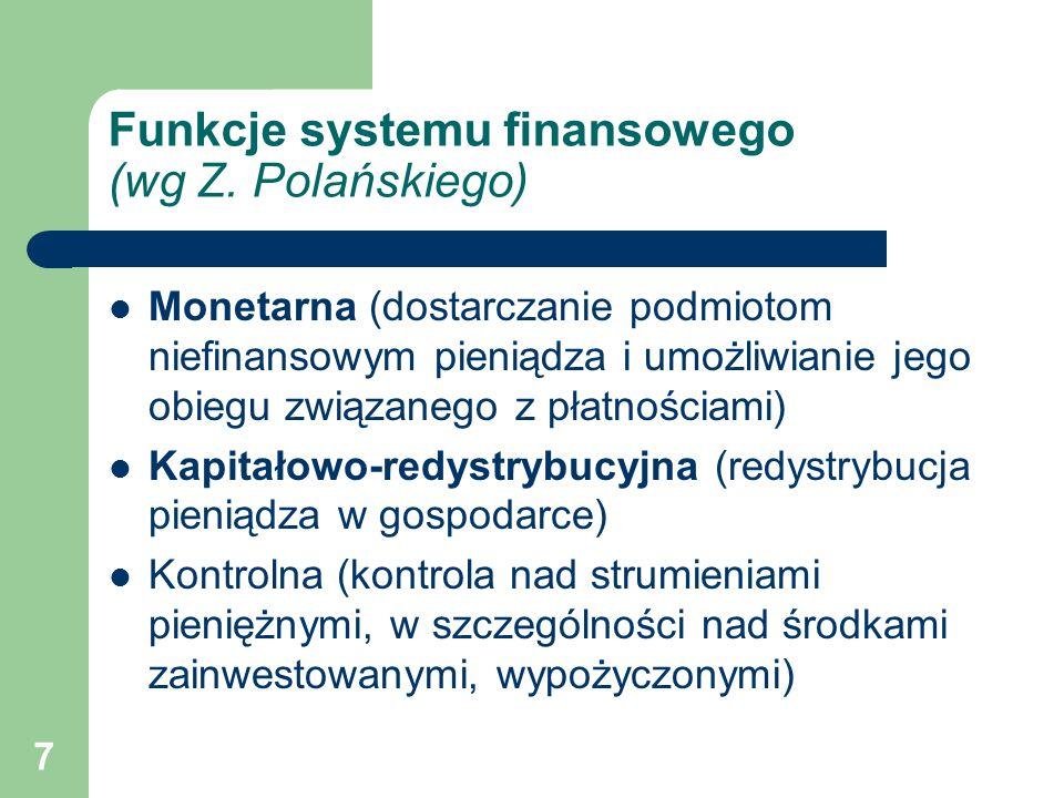 Funkcje systemu finansowego (wg Z. Polańskiego)